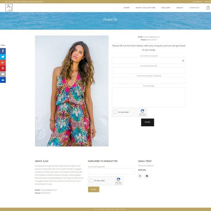 Ajaii – Fashion E-commerce Website - Contact Us