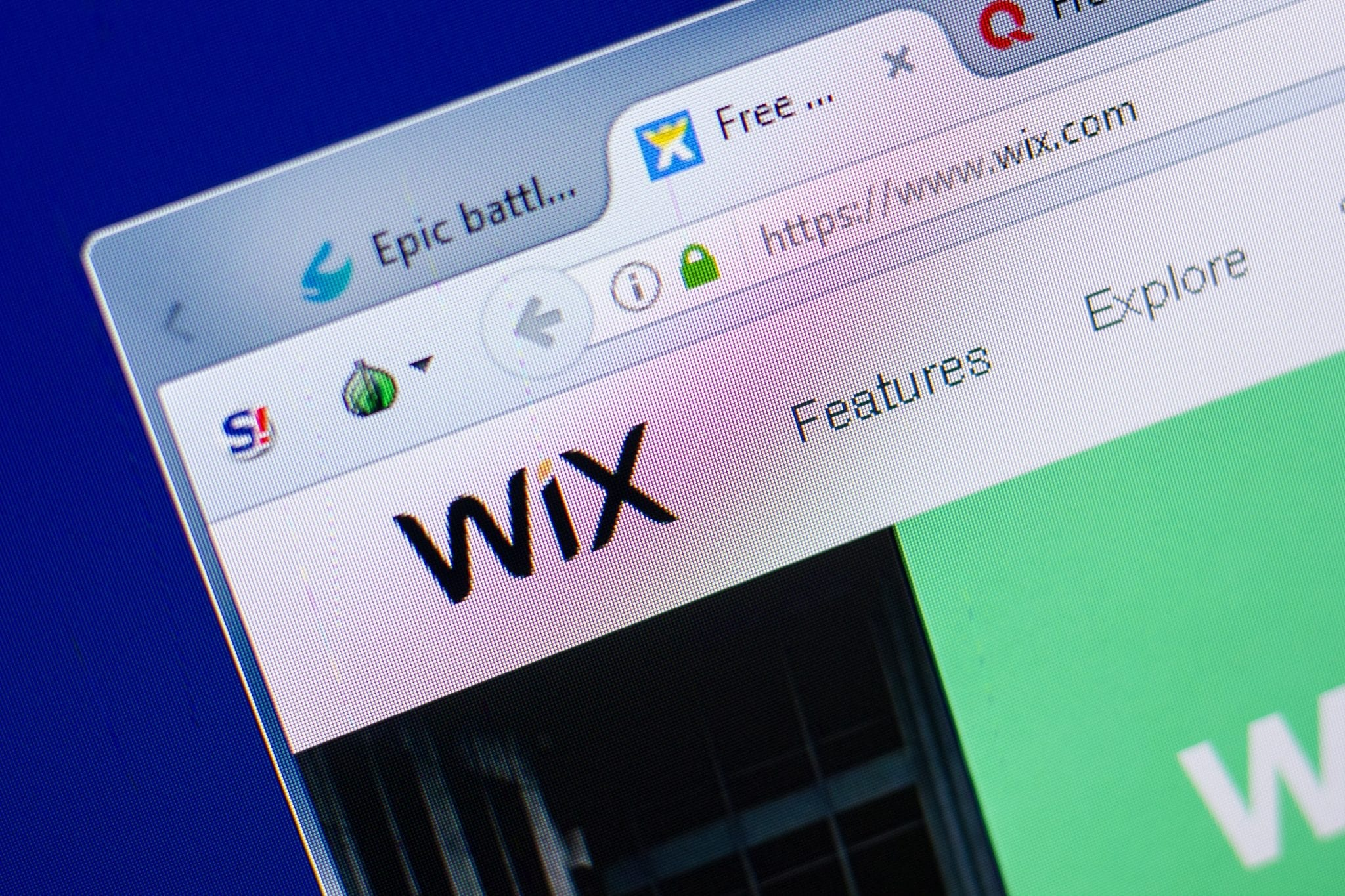 browser tab open with Wix
