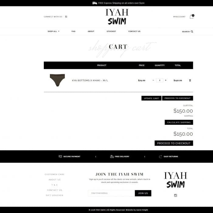 Iyah Swim - Cart page