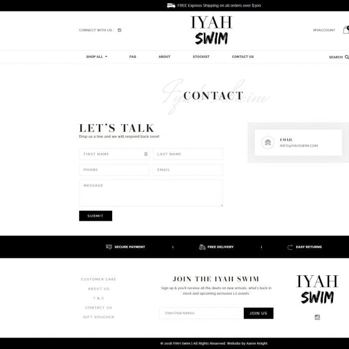 Iyahswim - Contact Page
