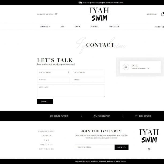 Iyah Swim - Contact Page