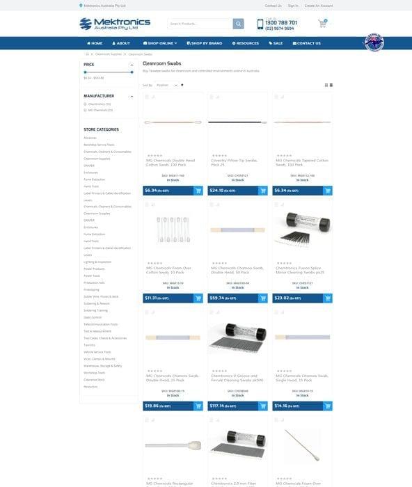 Mektronics - Product Listing Page