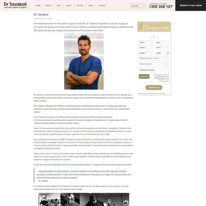 Dr Tavakoli - About Page