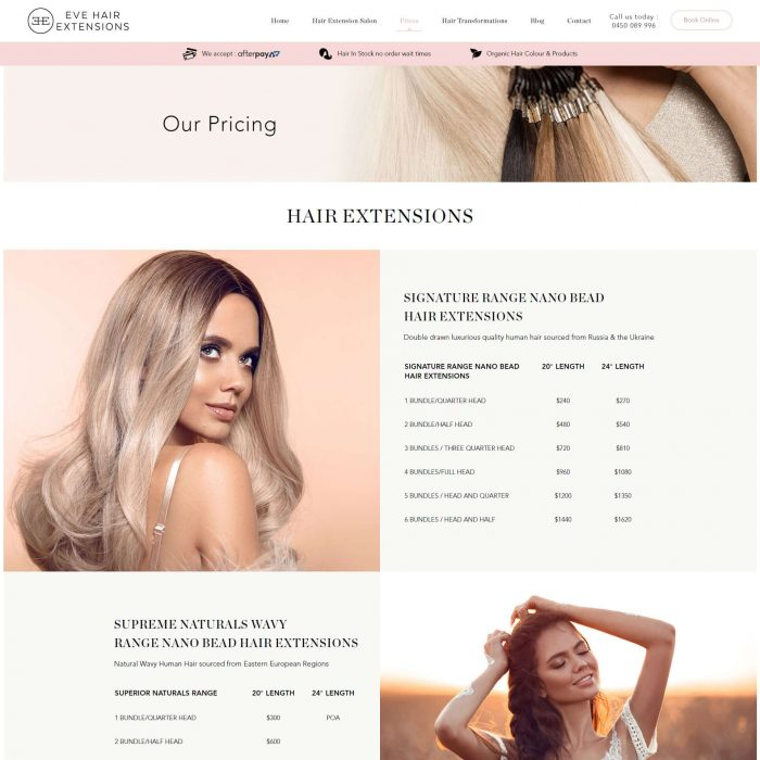 Eve Hair Extensions - Our Pricing